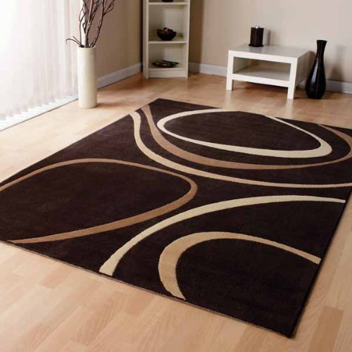Modern Brown Cream Beige Modern Designer Carpet Home Rug 3 Sizes Available 160cm X 230cm 5ft 6 X 7ft 7