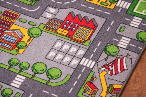Childrenu0027s Play Village Mat Town City Roads Rug 95cm x 133cm (3ft 1u2033 x 4ft  4u2033)