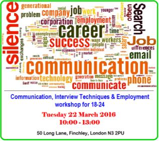 """""""Communication, Interview Techniques & Employment"""" workshop"""