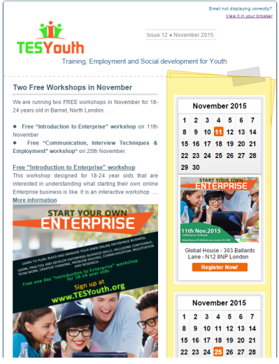 TESYouth November 2015 Newsletter